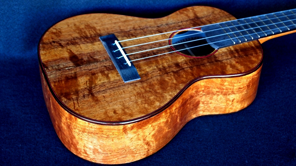 curly, quilty koa tenor ukulele