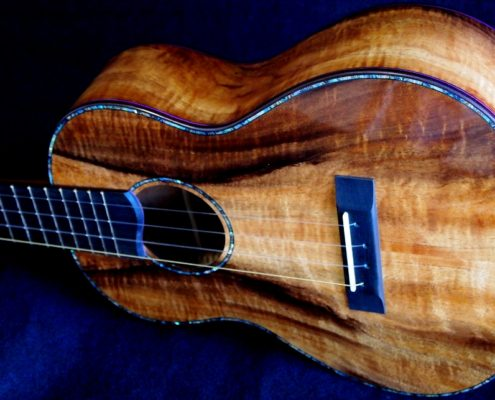 colorful curly koa custom tenor ukulele