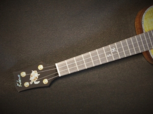 honu tenor ukulele with custom initials on fret board by kimo ukulele san diego ca