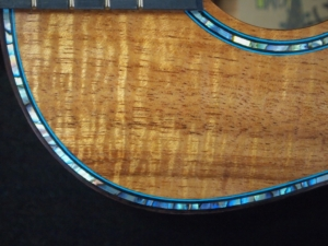 honu tenor ukulele with blue paua abalone and blond curly koa by kimo ukulele san diego ca