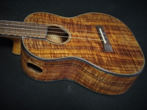 the roberta tenor ukulele custom built by kimo ukulele san diego california made from salvage curly koa wood from the big island of hawaii